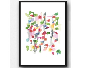 Bright colorful Artwork, Giclee Art Print 8 x 10, Modern Livingroom decor, green red Watercolor painting