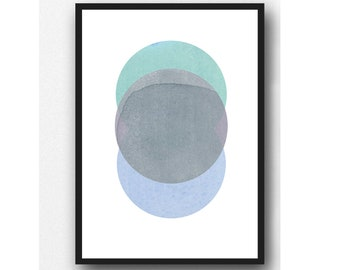 New Moon Art Print, Abstract Watercolor Print, Abstract Minimal Bedroom Art, Minimalist Art, Scandinavian Design,