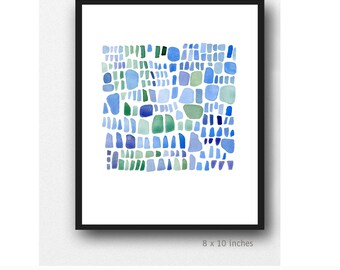 Blue Sea glass art, Abstract Painting, Bathroom Wall Art