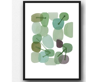 Abstract Watercolor Green Pebbles, Watercolor Print, connections
