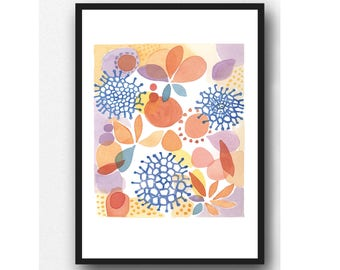 Colorful Watercolor Print, Watercolor Painting, Wall Decor, Kitchen wall art Floral art print, Giclee print