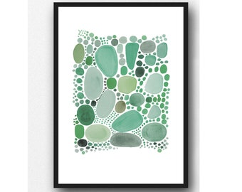 Art by Louise van Terheijden, Abstract Watercolor Green Pebbles, Watercolor Print