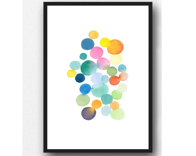 Featured listing image: Colorful Abstract Wall Art, Watercolor Painting Modern Home Decor, Art for Nursery room