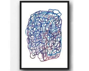 Abstract lines Art, Breathe, Watercolor Print, Blue Abstract Painting