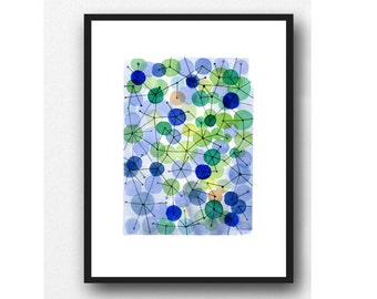 Original artwork, One-Of-A-Kind, Constellation blue green dots, watercolor painting, abstract painting little painting