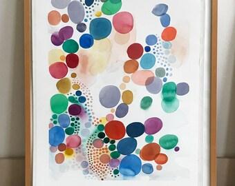 "Original Abstract Painting Original Watercolor large painting 22 x 30"" colored circles"