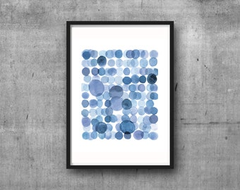 Blue Abstract watercolor painting, Blue Watercolor Print, Bathroom Art Print