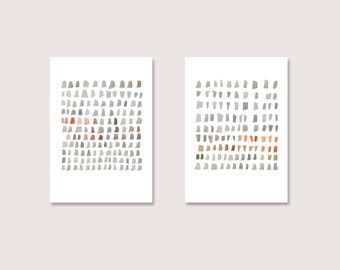 Abstract Art Print Set of 2, Minimal Watercolor Paintings,  Giclee Prints, Gray Coral Red, Minimal Art