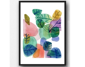 Abstract Watercolor Painting,  Nature Green Watercolor Print