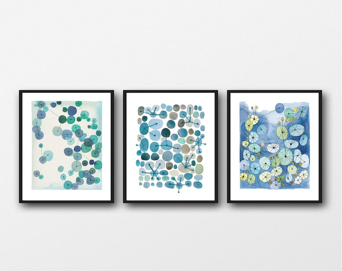 Featured listing image: Set of 3 Watercolor Prints, Bathroom wall Art, Living Room Gallery Wall, Abstract Modern Art