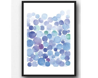 Abstract watercolor painting Soft blue drops, cobalt blue watercolor painting, Watercolor print blue, Watercolor print