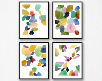 Set of 4 watercolor paintings, Watercolor print set, set of 4 abstract watercolor prints, Colorful home decor,