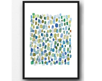 Rain, abstract art print,  watercolor print, blue green dots archival print watercolor painting