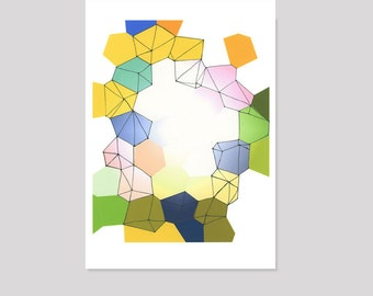 Abstract Watercolor Art, Colorful Watercolor Print, Geometric Pattern