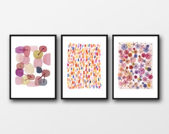Watercolor Print Set of 3 Watercolor Paintings,  Pink Abstract Art, Gallery Wall Art