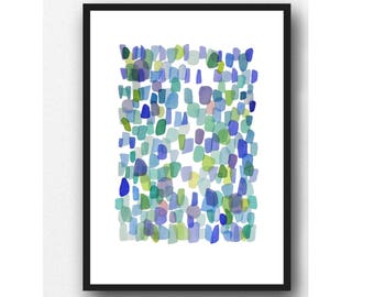 Abstract Blue Green Watercolor Print, Sea Glass watercolor painting, Sea Glass Art