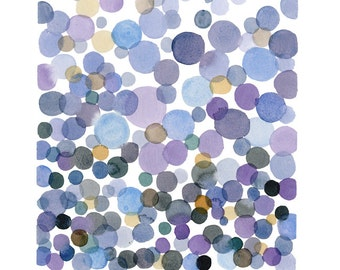 Abstract Watercolor Painting Purple Lavender bubbles, Original Painting