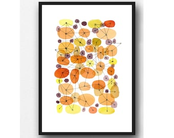 Watercolor painting Orange circles, Mid century painting, Abstract Watercolor Print