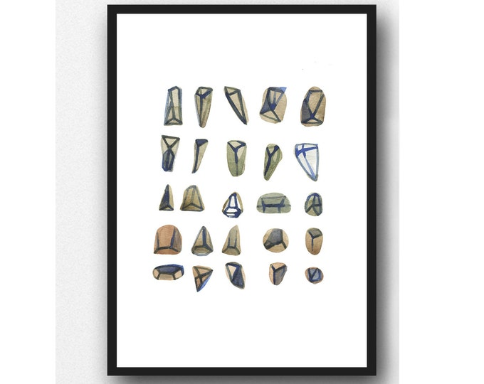 Featured listing image: Gemstones Painting, Watercolor Print, Neutral Colors, Diamonds Print, Natural Home Decor