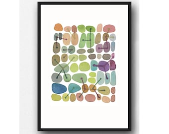 CONNECTIONS, Abstract Watercolor painting, Abstract Art print, Pebble Art