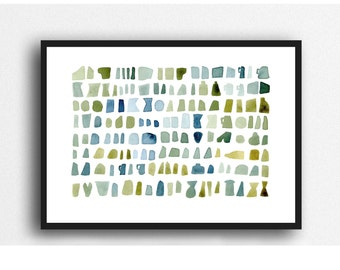 modern wall art, mossy green watercolor green blue watercolor painting, abstract watercolor print