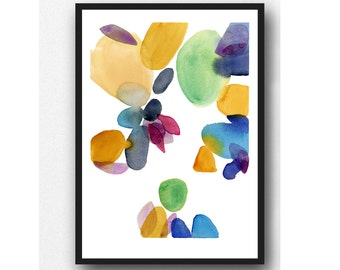 Abstract Watercolor Print, Colorful Modern Painting, Wall Art for Living Room,  Kitchen Decor