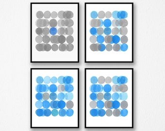 Gallery Wall set, Abstract Art Prints, Set of 4 prints, Minimal Watercolor Paintings, Gray Blue Art Prints