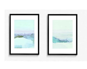 Watercolor Landscape, Set of 2 Prints, Landscape Wall Art, Watercolor Wall Art, Watercolor Painting, Abstract Landscape,  The Blue Hour