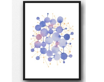 Blue Abstract Watercolor print, Constellation of Circles Connected, Geometrical Wall Decor