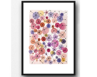 Abstract Watercolor painting pink Bubbles / Watercolor art pink / watercolor dots nursery room decor / girl's room decor