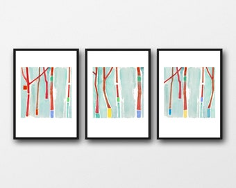 Watercolor Print Set of 3, Watercolor Paintings,  Nature inspired Red Trees, Abstract Art, Gallery Wall Art