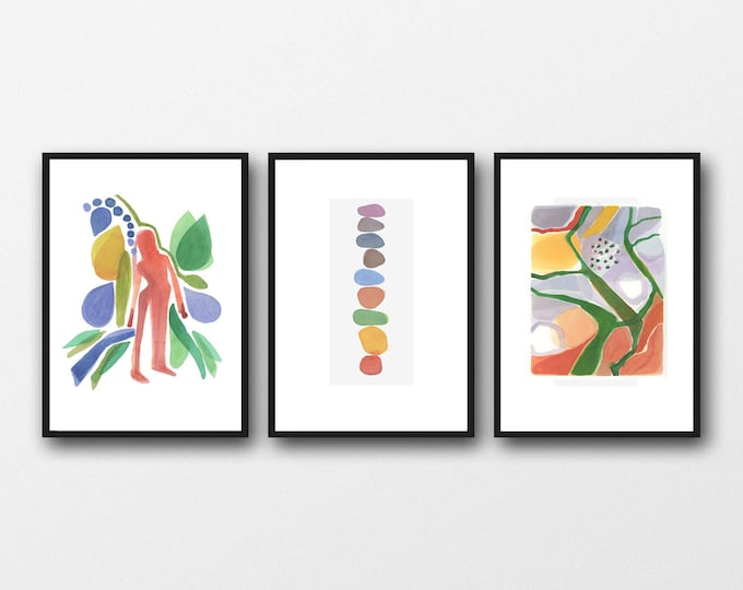Featured listing image: Set of 3 Watercolor Prints, Wanderlust Wall Art, Living Room Decor, Abstract Modern Art, Set of 3 Watercolor Prints