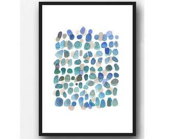 Sea Glass Art Print, Abstract Watercolor Painting