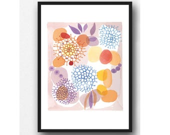 Colorful Wall Art, Watercolor Print, Watercolor Painting, Wall Decor, Kitchen wall art Floral art print, Giclee print