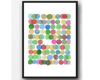 Concentric Circles Abstract Print - Colorful Polka Dots Multicolored Red Green Yellow Blue  Watercolor Giclee Reproduction