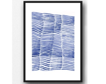 Minimalist Blue Wall Art, Abstract Watercolor Painting