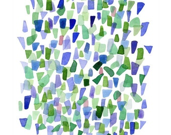 Sea glass watercolor print Abstract Watercolor painting blue green large print white beach glass