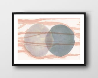 Connected Art Print, Abstract Watercolor Print, Abstract Minimal Bedroom Art, Minimalist Art, Scandinavian Design