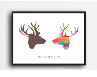 Christmas Gift for Him, Fun gift for Boyfriend, Deer print, colorful wall art, gift for Husband, gift for her