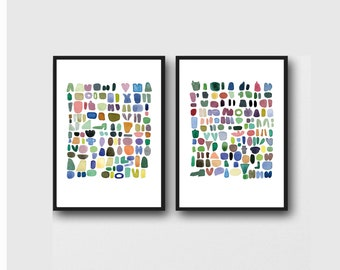 Wall Art Set of 2 Abstract Prints, Colorful Modern Art, Abstract Watercolor Paintings