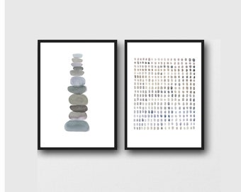 Set of 2 Prints, Minimalist Abstract Prints, Monochrome Gray Wall Art, Scandinavian Art Prints, Minimalist Art,