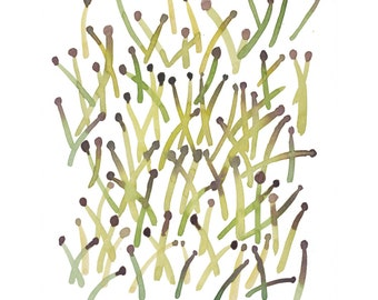 Watercolor art Sprouts Green Painting, watercolor Print Minimal Modern art