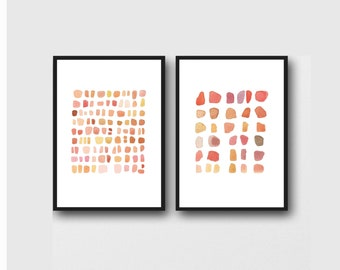 Gallery Wall Set of 2 Abstract Prints, Minimalist Wall Art, Red Pebbles