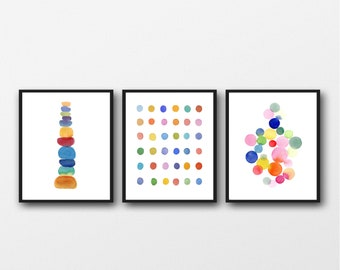 Baby Nursery Wall Art, Set of 3 Colorful Prints, Children's Wall art, Nursery Decor, New Baby Gift