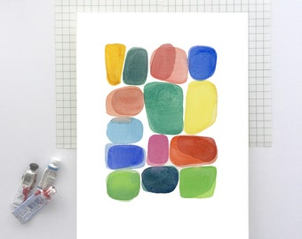 Original Watercolor painting, original Artwork, Abstract painting, Bold Colorful wall art