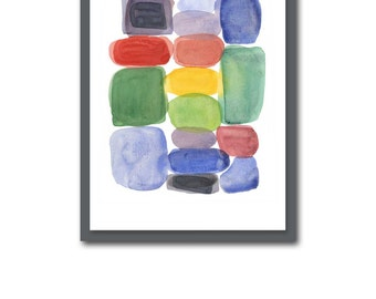 Abstract Colorful Watercolor Painting, Modern Wall Art