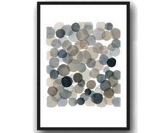 Giclee Art Print, Abstract Watercolor Painting, Black Circles