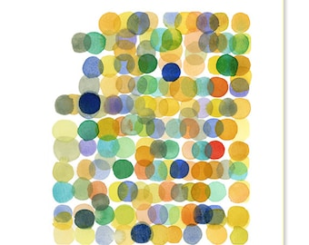 Watercolor yellow dots colorful wall decor watercolor print abstract watercolor painting