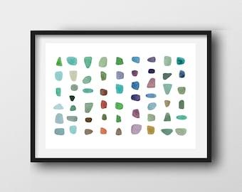 Sea Glass Art Print, Abstract watercolor Zen decor, Minimalist Watercolor Wall Art
