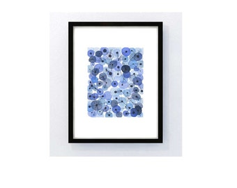 Bubbles blue dots - Abstract Art painting - ultramarine dots connected - watercolor painting blue white